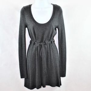 Dragonfly scoop neck belted sweater dress